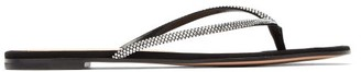 Gianvito Rossi India Crystal-embellished Suede Sandals - Womens - Black Silver