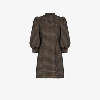 Ganni Check gathered sleeve shift dress