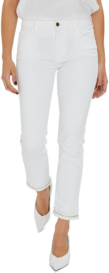 Thumbnail for your product : Jen7 Embellished Ankle Straight Leg Jeans