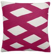Judy Ross Textiles Plaid Cream/Cerise Pillow