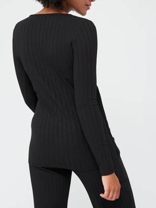 Very Ribbed Long Sleeve Wrap Top - Black