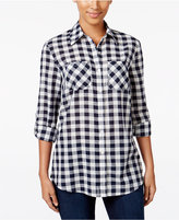 Style&Co. Style & Co. Gingham Roll-Tab Shirt, Only at Macy's
