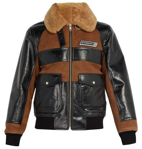 Givenchy Logo Patch Suede And Shearling Jacket - Mens - Brown