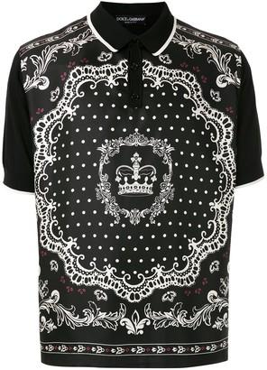 Dolce & Gabbana Bandana-Print Polo Shirt