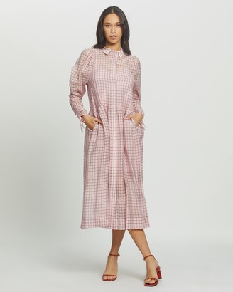 Topshop Women's Pink Midi Dresses - Check Organza Shirt Midi Dress - Size 12 at The Iconic