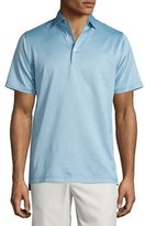 Peter Millar Tonal-Herringbone Striped Lisle Knit Polo Shirt, Dusty Sky