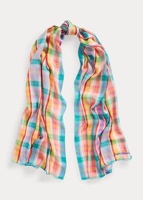 Ralph Lauren Madras Cashmere-Silk Scarf