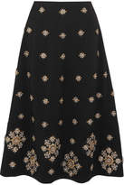 Elizabeth and James Lottie Embellished Crepe Midi Skirt - Black