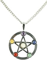 Simplicity Natural Stone OM Symbol Chakra Adjust Pendant Necklace
