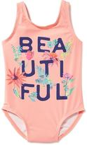 "Old Navy ""Beautiful"" Graphic Swimsuit for Toddler Girls"
