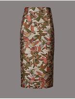 Autograph Jacquard Bird Print A-Line Midi Skirt