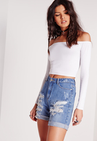 Missguided Long Sleeve Jersey Bardot Crop Top White