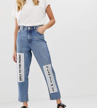 Monki Metallic Slogan Detail Mom Jeans-Blue