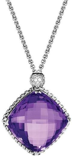 David Yurman Sterling Silver Amethyst & 0.14ct Diamond Cushion On Point Necklace