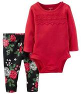 Carter's Girls' 'Red Lace' 2-Piece Bodysuit & Pant Set