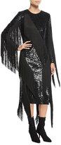 Michael Kors Paillette Crewneck Fringed Dress