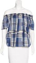Ulla Johnson Plaid Off-The-Shoulder Top w/ Tags