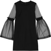 Mother of Pearl Kai tulle-paneled crepe mini dress