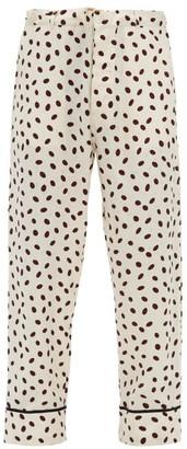 Marni Polka-dot Logo-jacquard Satin Trousers - Cream Multi