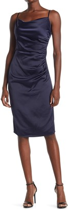 Laundry by Shelli Segal Cowl Neck Sleeveless Ruched Satin Sheath Dress