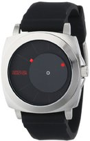 Kenneth Cole Reaction Unisex RK1327 Street Silver Round Case Offset Black Dial Red Accents Watch