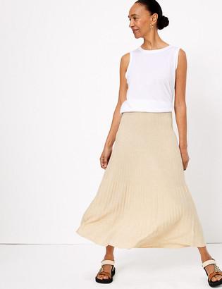 Marks and Spencer Linen Ribbed Midi Skirt