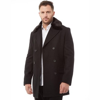 French Connection Mens Double Breasted Fur Lined Coat Black