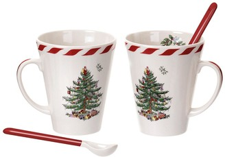 Portmeirion Peppermint Christmas Tree Set Of 2 Mugs & Spoons
