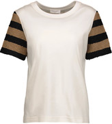 Sonia Rykiel Paneled striped cotton-blend bouclé and cotton-jersey top