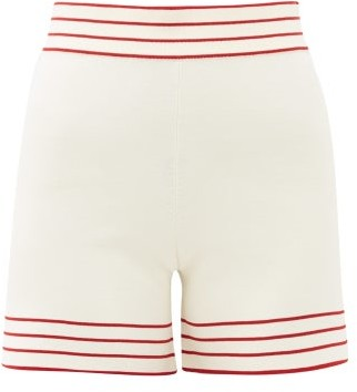 ODYSSEE Libertie High-rise Knitted Shorts - White Multi