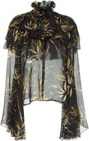 Rodarte Printed Silk Chiffon Long Sleeve Blouse