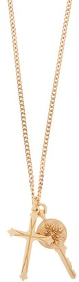 Emanuele Bicocchi Crucifix And Key Gold-plated Necklace - Gold