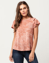 Blu Pepper Ruffle Sleeve Womens Tee