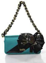 Karen Millen Teal Blue Black Jeweled Bow Detail Chain Strap Clutch Handbag