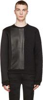 Pierre Balmain Black Neoprene and Leather Quilted Sweatshirt