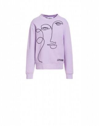 Moschino Cotton Sweatshirt With Cornely Embroidery Woman Purple Size 38 It - (4 Us)