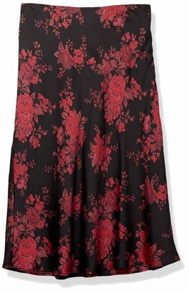 Forever 21 Women's Plus Size Floral Satin Skirt