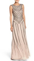 Aidan Mattox Beaded Mesh Gown