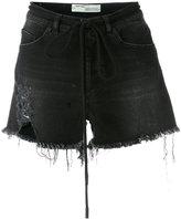 Off-White frayed denim shorts - women - Cotton/Polyester/Spandex/Elastane - 26