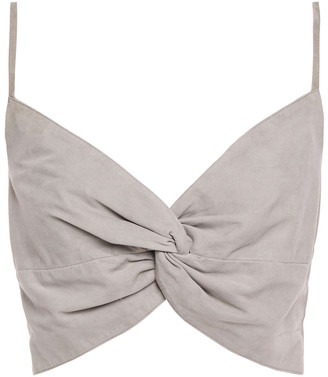 Mason by Michelle Mason Cropped Twisted Suede Top