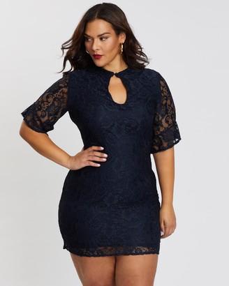 Missguided Curve Frill Sleeve Lace Mini Dress
