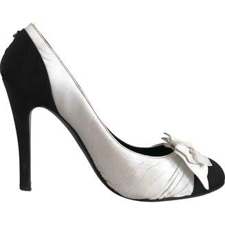 Chanel White Cloth Heels