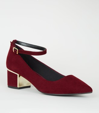 New Look Wide Fit Suedette Ankle Strap Court Shoes