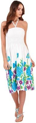 Pistachio Womens Ladies 100% Cotton Floral Print 3 In 1 Bandeau/Halter Summer Dress/Maxi Skirt