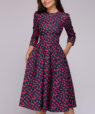 Br.Uno Ricco Women's Casual Dresses Navy - Navy & Red Floral Pocket Three-Quarter Sleeve Fit & Flare Dress - Women & Plus