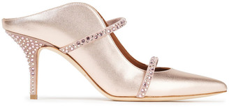Malone Souliers Maureen 70 Crystal-embellished Suede-trimmed Metallic Leather Mules