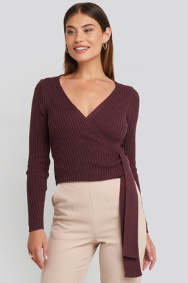 NA-KD Overlap Ribbed Knitted Sweater Beige