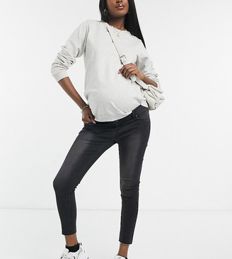 Bandia Maternity over the bump ankle grazer skinny jean with raw hem and removable bump band
