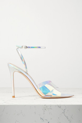 Gianvito Rossi Stark 105 Iridescent Leather And Pvc Sandals - Silver