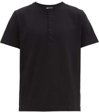 Sunspel Short-sleeved Cotton-jersey Henley Top - Mens - Black